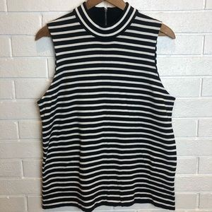 J Crew factory black white striped tank blouse L